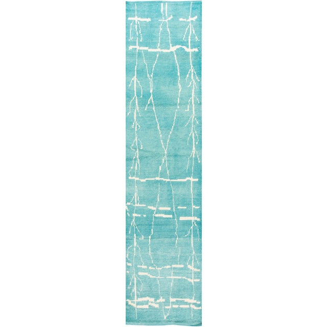 21st Century Modern Moroccan Style Wool Runner For Sale - Image 9 of 9
