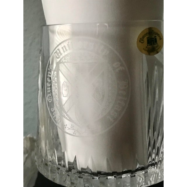 English Vintage Queen's University of Belfast Full Lead Hand Made Irish Tyron Crystal Glass For Sale - Image 3 of 6