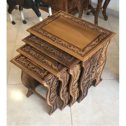 Walnut Carved Nesting Tables - Set of 4 For Sale - Image 4 of 5