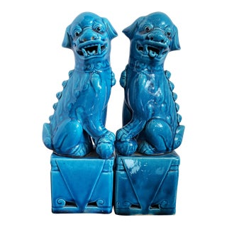 "Vintage Blue Porcelain Asian ""Chinese Guardian Lions"" Foo Dogs - a Pair For Sale"