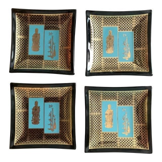 1960s Asian-Inspired Smoked Glass Coaster- Set of 4 For Sale