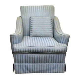 Blue Striped Fabric Arm Chair For Sale