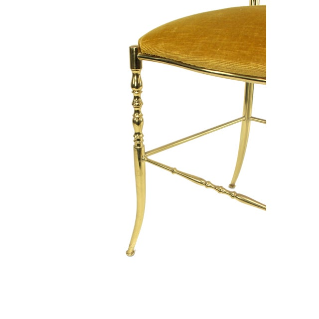 1950's Vintage Chiavari Italian Hollywood Regency Gold Gilded Brass Vanity Chair For Sale In Los Angeles - Image 6 of 8