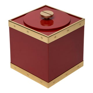 Flair Collection Edge Ice Bucket in Cinnabar / Brass For Sale