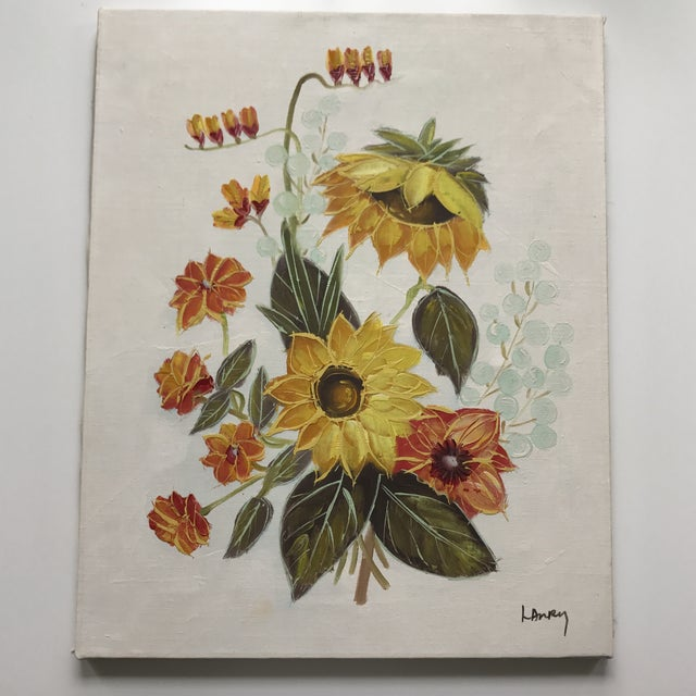 Hand painted floral art signed, Larry. This piece features beautiful shades of yellow, marigold, olive, red and pale blue.