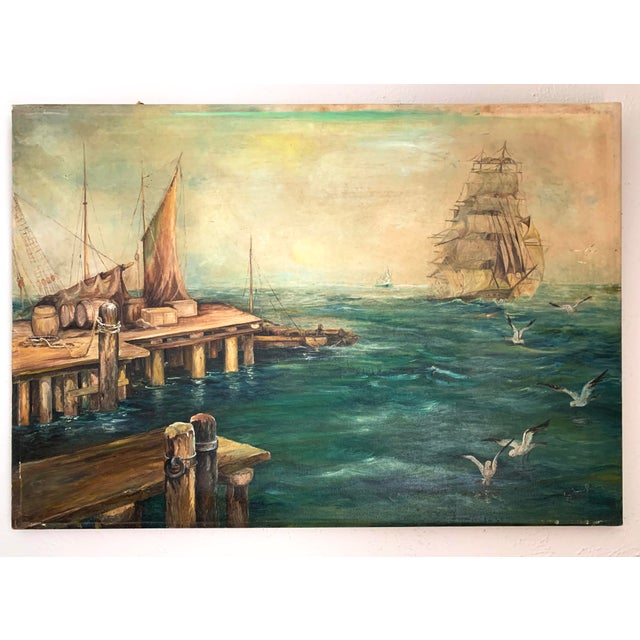 Vintage Sailing Ship Painting Oil on Canvas Signed by Artist J H Johnson For Sale - Image 13 of 13