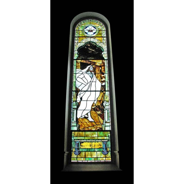 Beautiful stained glass window depicting Jesus coming out of the tomb. It is available separately, or you can purchase as...