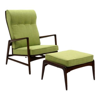 Kofod Larsen Adjustable Back Lounge Chair With Ottoman New Lime Green Upholstery For Sale
