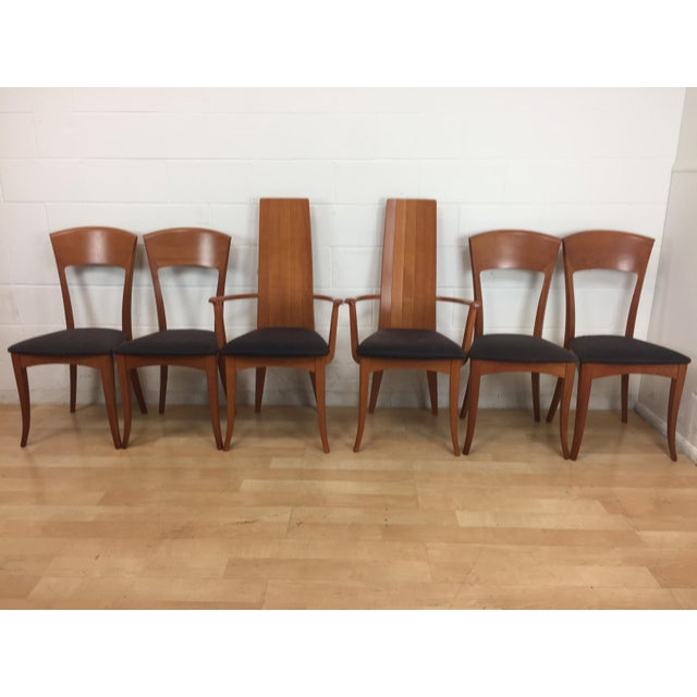 Set of six A. Sibau Mid-Century Modern dining chairs- Made in Italy. Wear is significant on the fabric, see pictures, but...