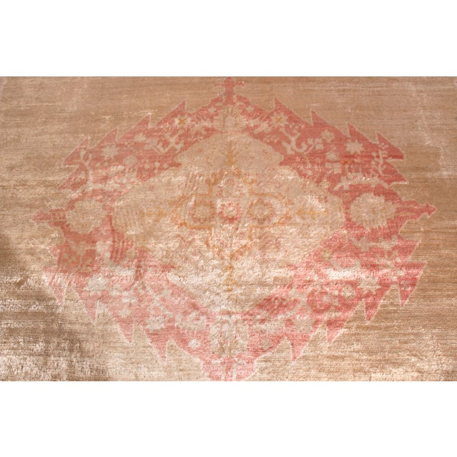 1900 - 1909 Antique Oushak Rug Red and Gold Angora-Wool Medallion Pattern For Sale - Image 5 of 6