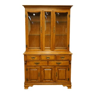 20th Century Early American Tell City Colonial Solid Hard Rock MapleBuffet With Display China Cabinet For Sale