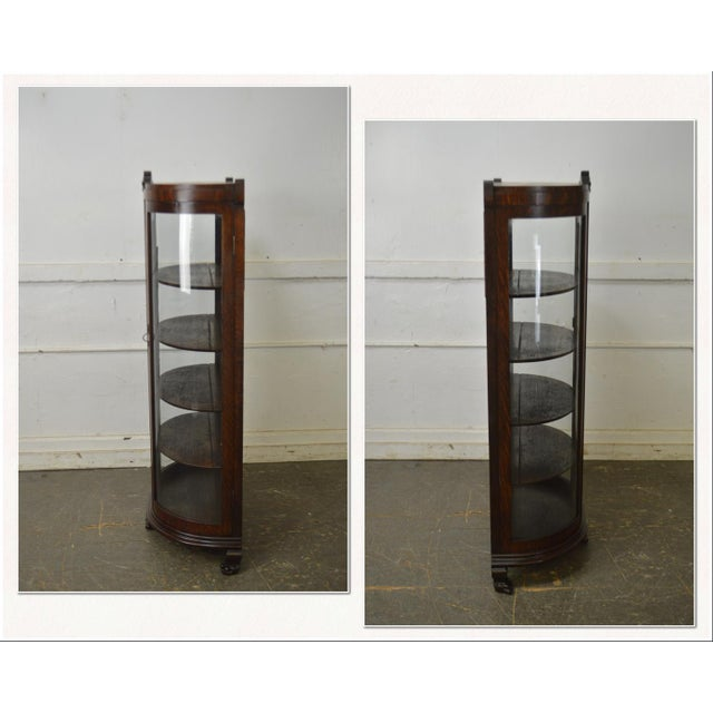 *STORE ITEM #: 18294-fwmr Unusual Antique Oak Bow Glass Small Victorian China Cabinet AGE / ORIGIN: Approx. 175 years,...