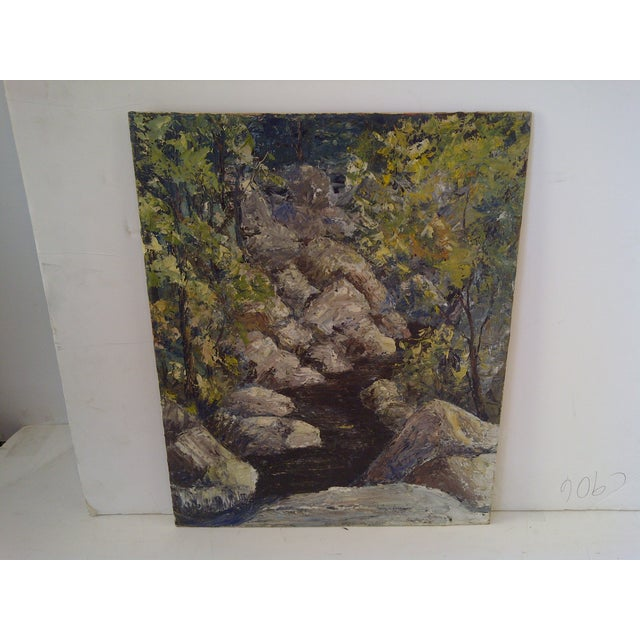"""Original vintage painting titled """"The Brook"""". By Rudy Schoernam. Circa 1959. Unframed. Painted on board. Ready for..."""