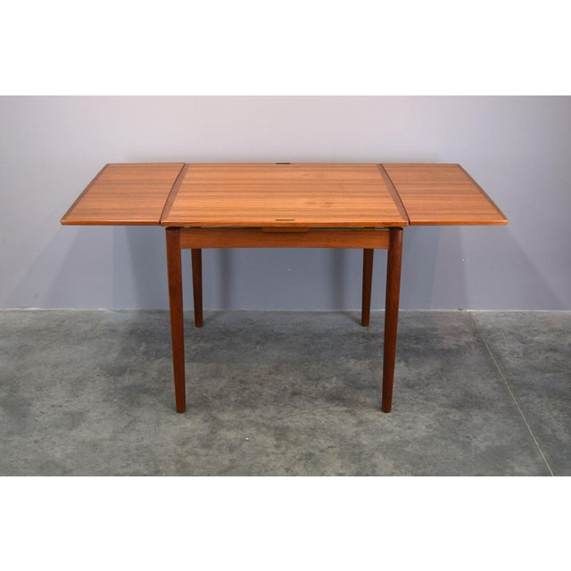 Carlo Jensen Expanding Small Danish Teak Dining Table or Game Table For Sale - Image 13 of 13