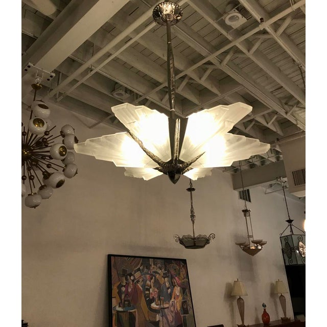 Grand French Art Deco Six-Panel Starburst Chandelier by Sabino For Sale - Image 10 of 11