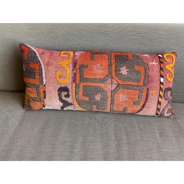 Cotton 1990s Oblong Pillow Cut From Handmade Antique Rug 3 Available For Sale - Image 7 of 7
