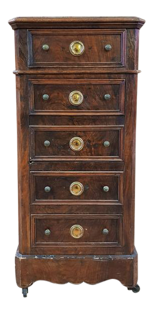 Antique Narrow French Chest Of 5 Drawers Lingerie Jewelry Armoire