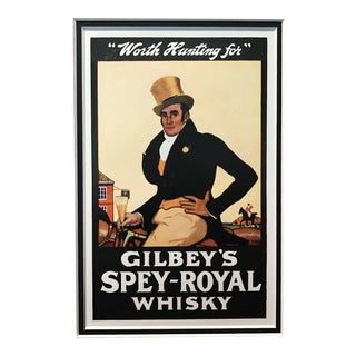 """1920s Vintage British Art Deco -Gilbrey's Spey-Royal Whisky (""""Worth Hunting For"""") For Sale"""