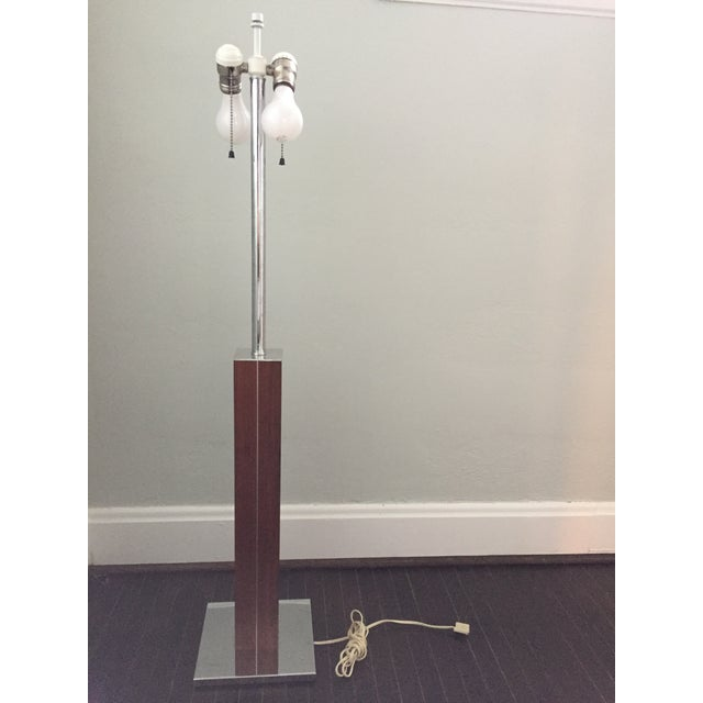 Beautiful, large, walnut and chrome table lamp from Walter Von Nessen, with original shade, circa 1960's. Double socket at...