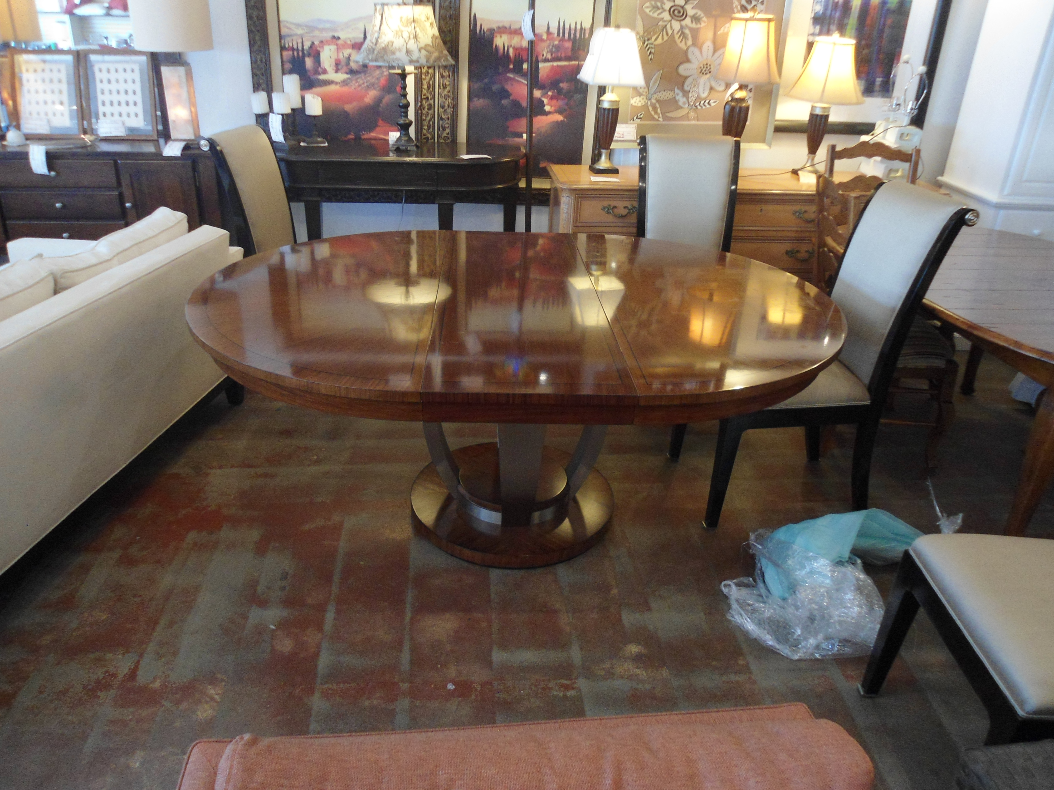 Drexel Heritage Round Dining Table W 18 Quot Leaf Chairish