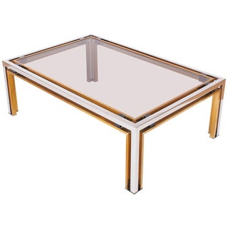 Romeo Rega Coffee Table in Brass and Chrome For Sale