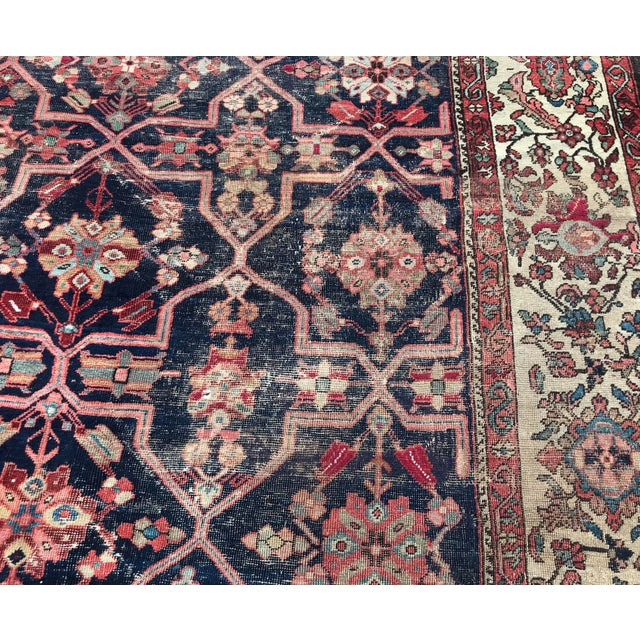 Vintage Design Decorative Blue Background Color Mahal Rug- 9′5″ × 13′5″ For Sale - Image 9 of 13