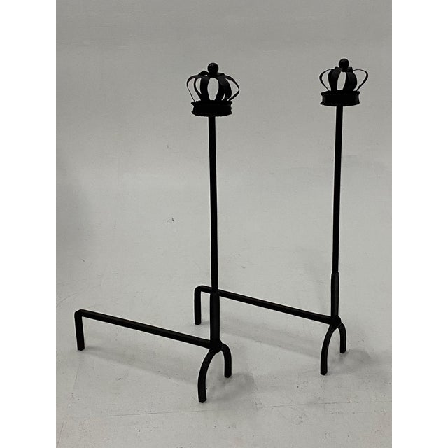 Black Cast Iron Crown Motife Andirons a Pair For Sale - Image 4 of 6