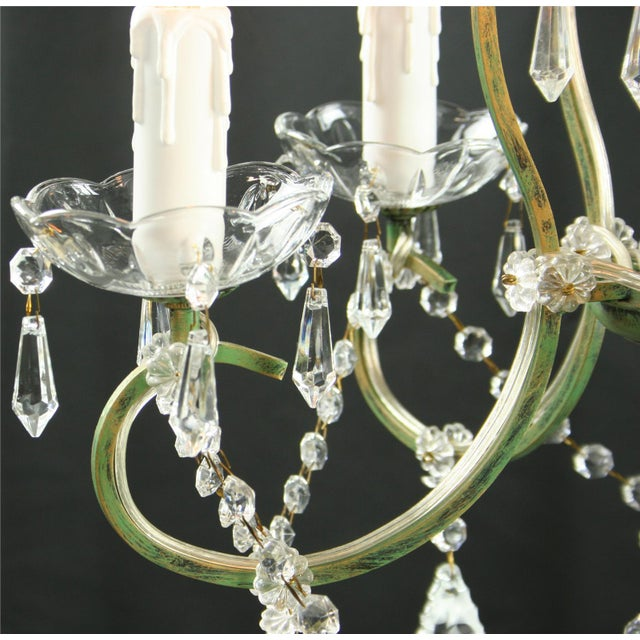 Rococo 5-Arm Glass Chandelier For Sale - Image 4 of 8