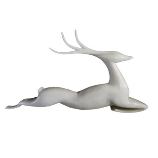 20th Century Americana White Fiberglass Reindeer Figurine For Sale