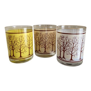 """1970s Rare Houze Seasonal """"Spring, Fall & Winter"""" Thermochromic Old Fashion Tree Bar Glasses - Set of 3 For Sale"""