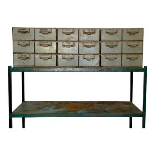Vintage 18 Drawer Steel Industrial Metal Lyon Tool Parts Organizer For Sale