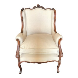 French Louis XV 19th Century Carved Walnut Armchair For Sale