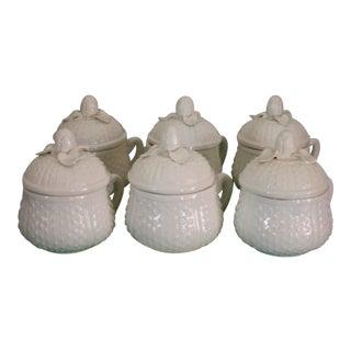 Vintage 1950s Italian Creamware White Pots De Creme with Rosebud Finial Lids - Set of 6