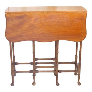 Vintage Regency Style Faux Bamboo Spider Leg Gate Leg End Table For Sale