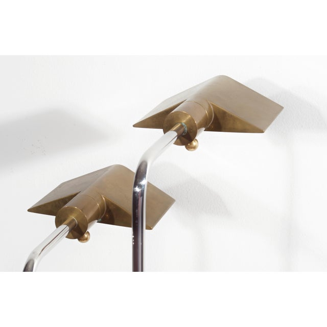 Cedric Hartman Early Brass and Chrome Swivel Floor Lamps, 1960's - a Pair For Sale - Image 9 of 10
