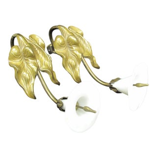 Antique French Lily Flower White Glass Curtain Tie Backs - a Pair For Sale