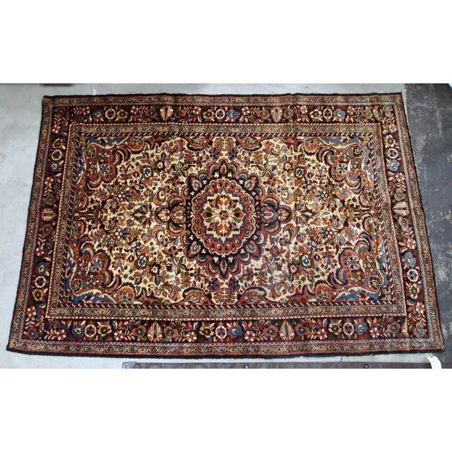 Tan 1900s, Handmade Antique Persian Sarouk Rug 3.1' X 5.2' For Sale - Image 8 of 12