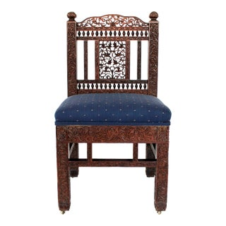 Anglo-Indian Carved Rosewood Chair For Sale