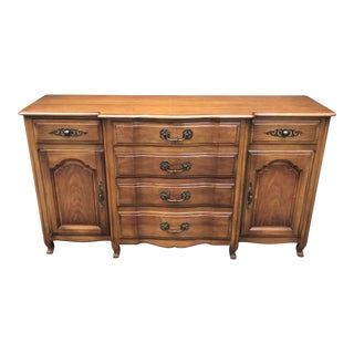 French Provincial Walnut Sideboard and Fold Out Desk by John Widdicomb For Sale