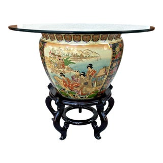 Chinese Satsuma Style Planter Side Table With Glass Top For Sale