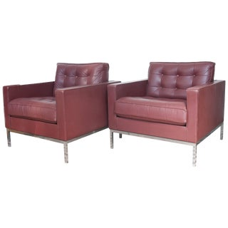 Pair of Florence Knoll Club Lounge Chairs,1980s For Sale