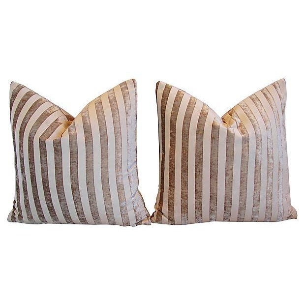 "Designer French Velvet Striped Feather & Down Pillows 24"" Square - Pair For Sale - Image 4 of 8"