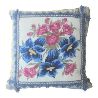 Blue & Yellow Silk With Down Filled Needlepoint Pillow For Sale