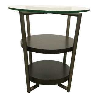 Organic Modern Metal and Dark Wood Round Three Tier End Table For Sale