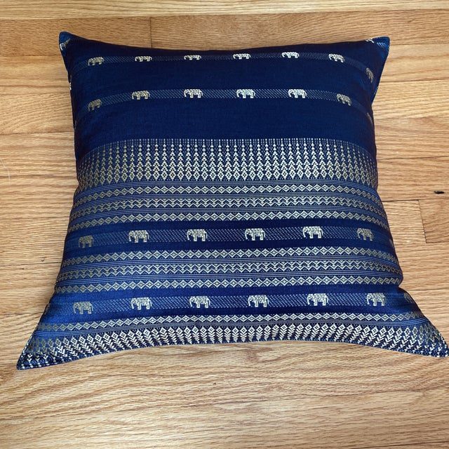 Blue Thai Silk Pillow With Elephant Motif For Sale - Image 11 of 13