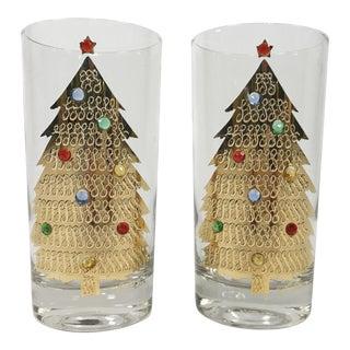 Christmas Tree Gemstone Culver Glasses, Pair For Sale