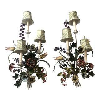 Vintage Mid 20th Century Tole Floral Sconces - a Pair For Sale