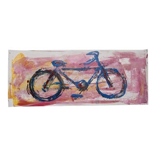 Contemporary Pink Bicycle Pop Art Signed Street Art Original Painting For Sale
