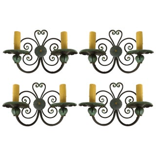 Old Spanish Mizner Style Wrought Iron Sconces, Patinated Set of Four For Sale