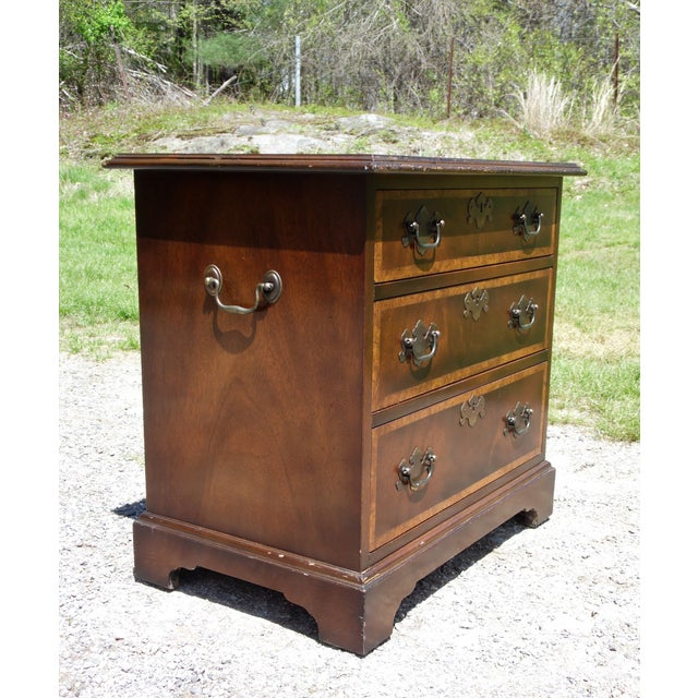 Vintage English Provincial Style Mahogany Banded Chest End Table Night Stand For Sale - Image 10 of 13
